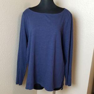 Eileen Fisher Long Sleeve Blue Scoop Neck Top